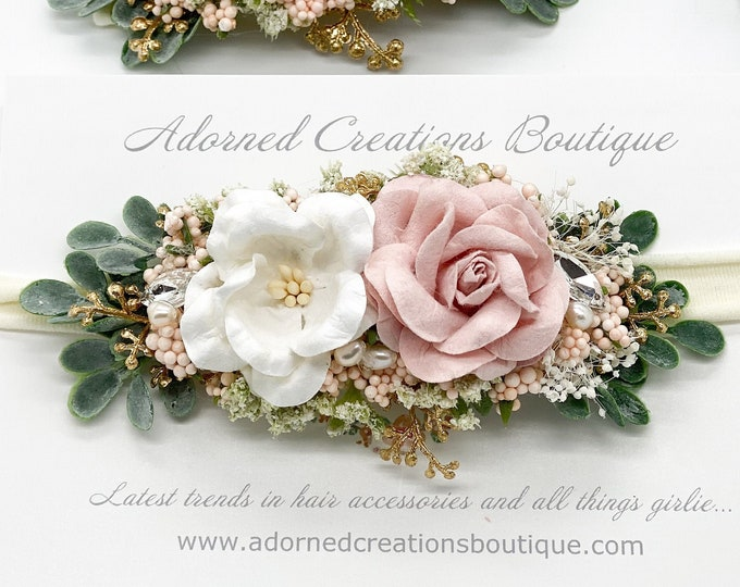 Blush Pink and Gold newborn Headband,  Flower Crown, Baby Girl headband, Flower Girl Headband, Wedding Headband, baby floral crown,Hair Clip