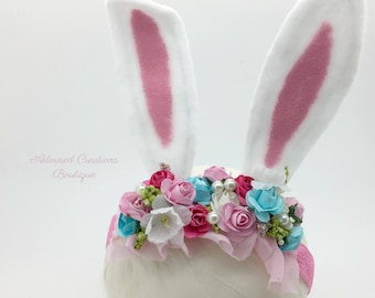 Easter Bunny Ears headband, Bunny Ears Headband, Girls Bunny Ears Headband, Easter Headband, Pink and Blue Headband, Easter Bunny