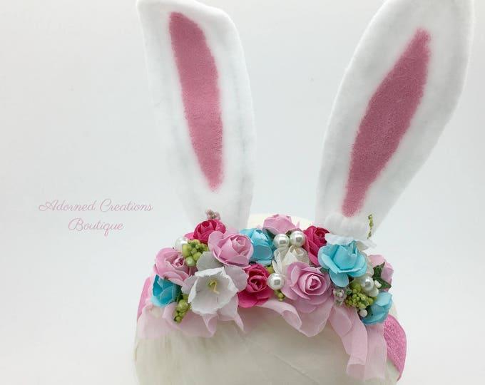 Easter Bunny Ears headband, Bunny Ears Headband, Girls Bunny Ears Headband, Easter Headband, Pink and Blue Headband, Easter Bunny
