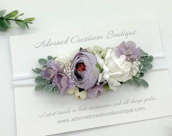 Baby Headband - Newborn Headband - Flower Girl Headband - Flower Girl Headband - Wedding Headpiece - Wedding Headband - Lavender Headband