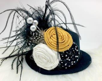Mustard Yellow, Cream and Black Mini Top Hat, Fall Mini Top Hat, Baby Top Hat, Women's Top Hat, Birthday Hat, Tea Party Hat