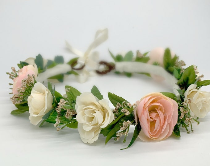 Blush Pink and Ivory Flower Crown -  Flower Girl Crown, - Wedding Flower Crown -  Maternity Crown - Girls Flower Crown - Floral Crown