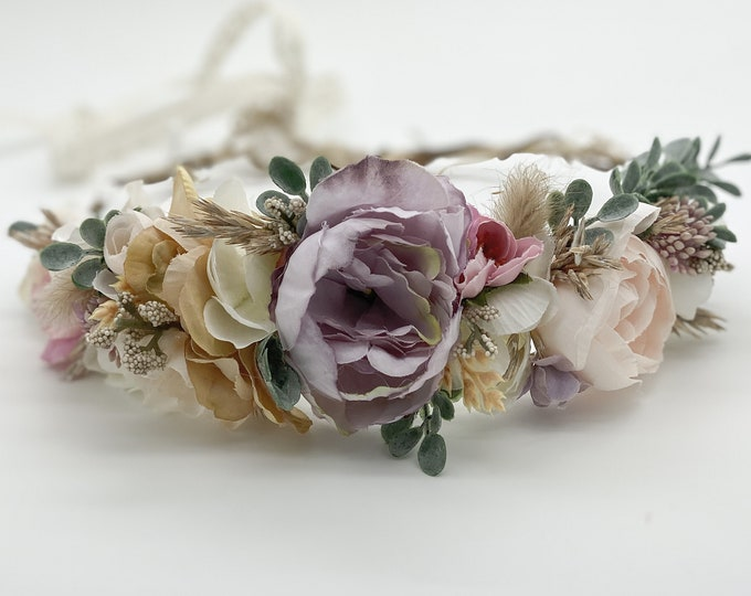 Muted Natural Flower Crown , Flower Girl Crown, Flower Crown, Dried Flower Crown, Bridal Crown, Maternity Crown, Wedding Headpiece, Boho