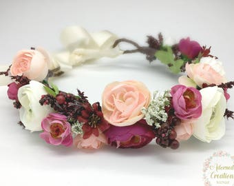 Flower Crown, Burgundy and Blush Pink Flower Crown, Wedding Flower Crown, Flower Girl Crown, Halo Headband, Maternity Flower crown