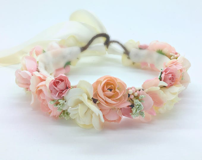 Blush Pink and Ivory Flower Crown , Flower Girl Crown, Flower Crown, Halo Flower Crown, Bridal Crown, Maternity Crown