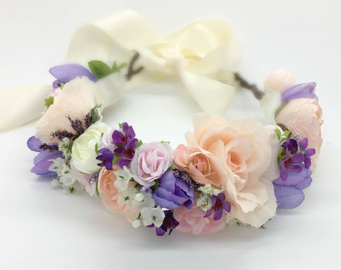 Blush Pink, Lavender, Pale Pink and Purples Flower Crown, Wedding Flower Crown, Bridal Flower Crown, Flower Girl Crown, Maternity Crown