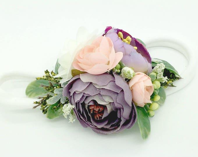 Purple and blush pink flower headband, flower girl headband, flower crown, baby flower headband, flower headband