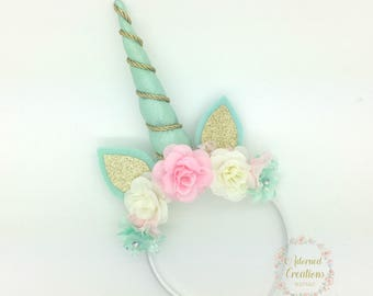 Unicorn Headband, Pink, Mint, Ivory Unicorn Party, Unicorn Birthday, Unicorn Horn Headband