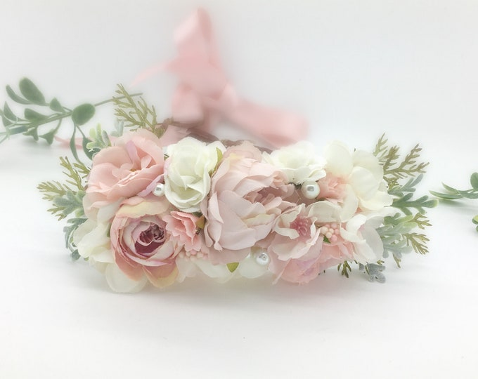 Blush pink and Ivory Flower Crown , Flower Girl Crown, Flower Crown, Halo Flower Crown, Bridal Crown, Maternity Crown, Mommy and Me