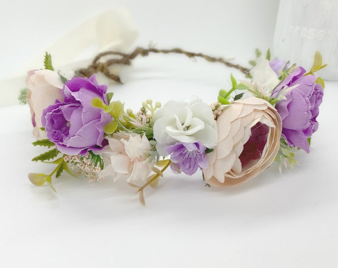 Flower crown - Blush pink and lavender or lilac flower crown - flower girl crown - bridal flower crown