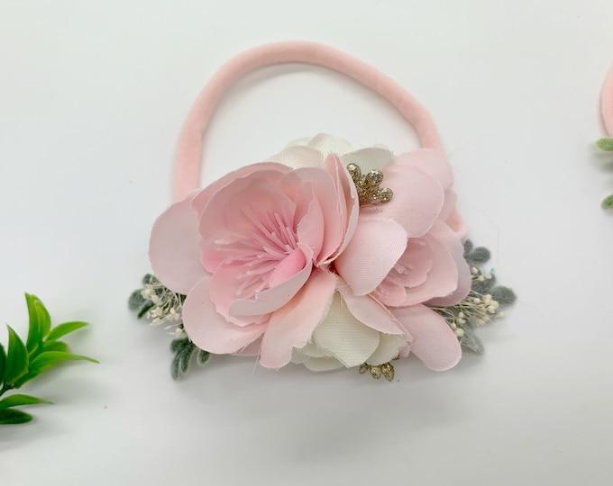 Newborn Flower headband, Pink Flower Headband, Baby Flower Headband, Flowergirl Headband, Flower Crown