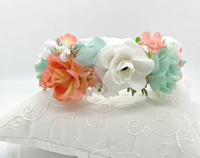 Mint Coral and white flower crown, Flower Girl Crown, Girls flower crown, wedding flower crown, maternity flower crown, spring flower crown