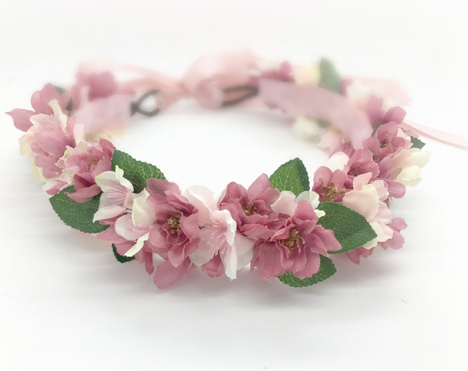 Flower Crown in Mixed pinks, Light Pinks and Mauve Pinks, Flower girl Crown. Flower crown wedding, Girls Birthday crown