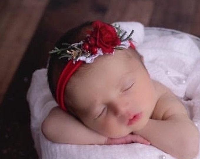 Christmas Baby Headband, Red flower Headband, Christmas newborn Headband, Newborn Photo prop