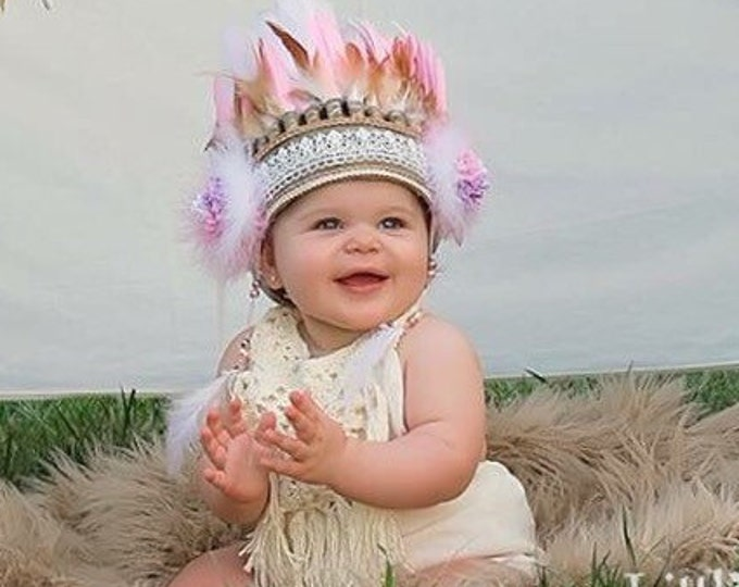 Feather Headpiece, Baby toddler Headband, Baby Costume, Children Feather Headband, Kids Costume, Pink Feather Headband, baby feather crown,