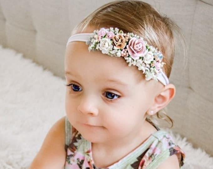Blush Pink Ivory Taupe Flower Headband, Newborn Flower Crown, Newborn Headband, Blush Ivory baby headband, Flower girl headband,Flower Crown