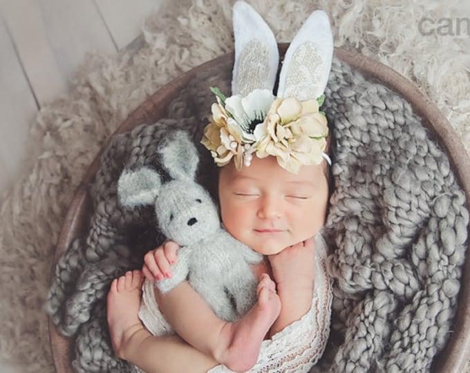 Bunny Ears Headband, Natural Vintage Easter Bunny Ears Headband, Newborn Headband, girls headband, baby headband, Beige and White