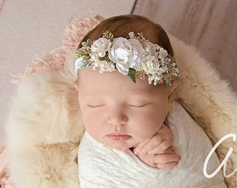 Newborn White Flower Headband, Christening Headband, Baptism Headband, Flower Girls Headband, Bridal Headband, Wedding Headpiece
