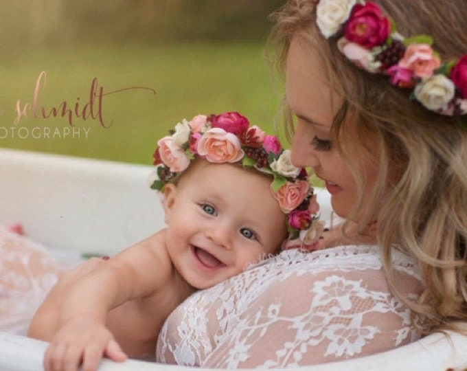 Mommy and Me Flower Crown, Burgundy and Blush Pink Flower Crown, Wedding Flower Crown, Flower Girl Crown, Maternity Flower crown