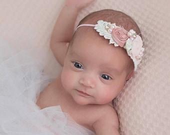 Pink and White Newborn Headband, Baby Headband, Girls Headband, Toddler Headband, Infant Headband, Flower girl headband