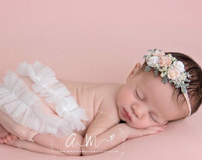 Peach and cream Baby Headband, Vintage Style Headband, flower girl headpiece, Flower Girl Headband, Wedding Headband, Flower Crown