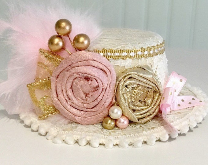 Pink Gold And Ivory Vintage Clown Top Hat, Mini Top Hat, Birthday Hat, Victorian Top Hat, Pageant Hat, Girls Hat, Newborn Hat, tea party hat