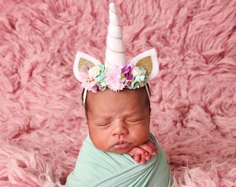 Newborn Unicorn headband, Unicorn Horn Headband, baby unicorn headband, unicorn baby headband