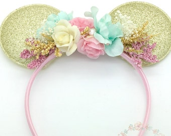 Vintage Pink and Aqua Mint and Gold Mouse Ears Headband