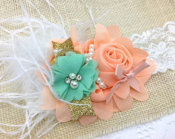 THE REYNA-Peach, Mint and Gold Headband, BabyGirl Headband, Toddler Headband, Birthday Headband