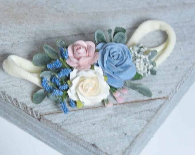 Blush Ivory Blue Flower Headband, Newborn Flower Crown, Newborn Headband, Baby headband, Flower girl headband, Flower Crown