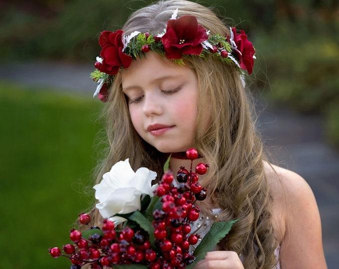 Christmas Flower Crown, Red Berries Crown, Winter Flower Crown, Red Flowers Christmas halo