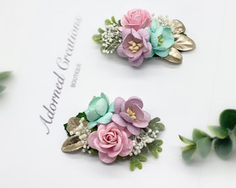 Floral Hair Clips, Pigtail Clips, Pigtail Bows, Piggy Set, Hair Clips, Wedding Clips, Floral Hairpiece, Pink, Lavender, Blue