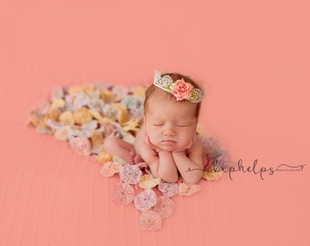 Newborn Lace Coral Flower Crown, Newborn Crown, baby crown, baby lace crown, princess crown, vintage crown