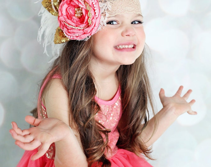 Coral and Gold OTT Satin Singed Fabric Flower Headband - Girls Birthday Headband - Large Flower Headband