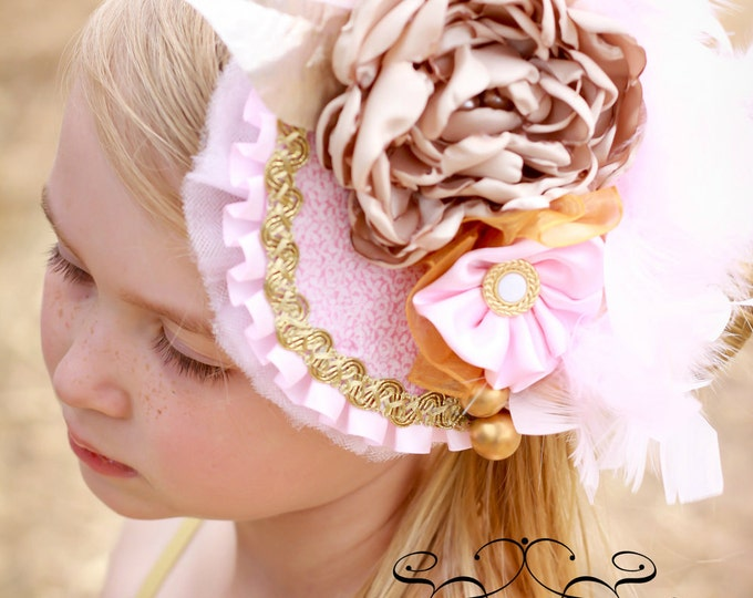 Girls Tea Hat, Girls Birthday Hat, Girls Derby Hat, Pink and Gold Hat
