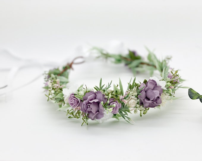 White and Lavender Purple Flower Crown , Flower Girl Crown, Flower Crown, Halo Flower Crown,Bridal Crown, Maternity Crown, Wedding Headpiece