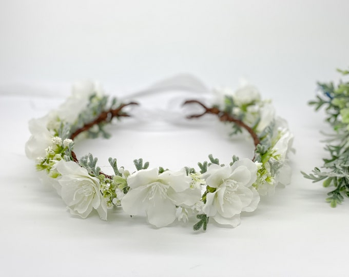 White Cherry Blossom Flower Crown - Floral Crown - Flower Girl Crown, Bridal Crown - First Communion