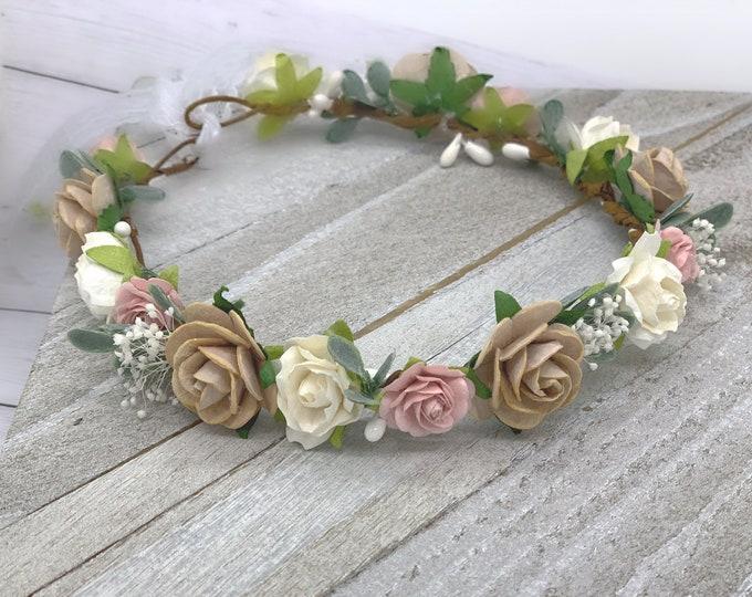 Blush Neutral Ivory flower crown, wedding flower crown, bridal crown, flower girl crown, baby crown, maternity crown