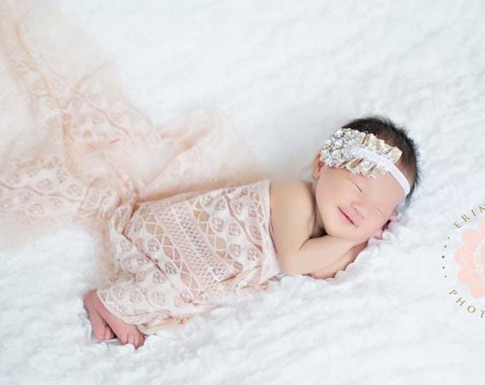 Vintage Newborn Headband, Baby Headband, Baby Girl Headband, Toddler Headband, Infant Headband, Girls Headband Brown Rhinestones