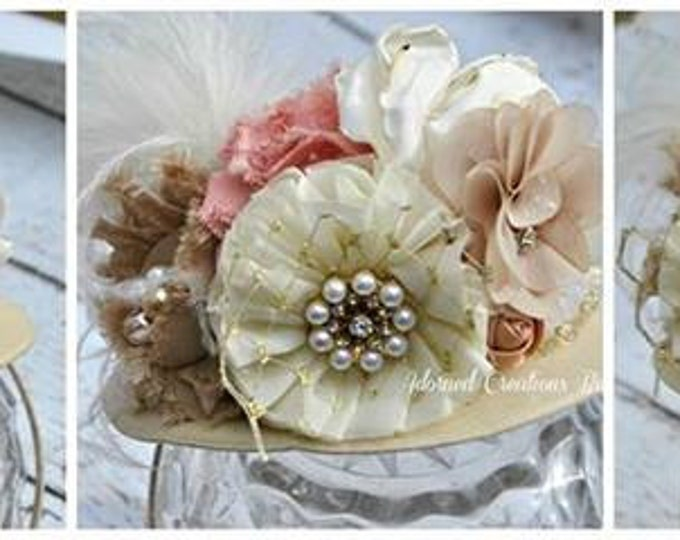 TOP HAT - Baby Girl Top Hat - Pageant Hat - Vintage Tea Hat - Ivory and Mauve Hat - Girls Top Hat - Girls Birthday hat