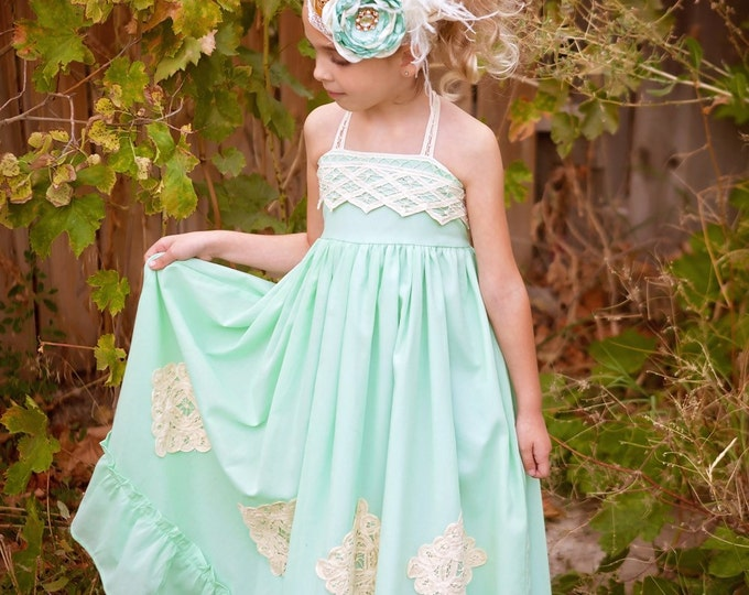 Mint and Gold Headband M2M Well Dresses Wolf, Girls headband, birthday headband, pageant headband