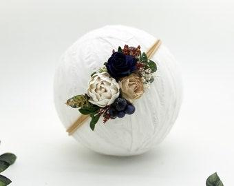Fall Flower Headband - Girls Headband - Newborn Flower Crown - Flower Girl Headband - Wedding Headband - Flower Crown -Baby Headband, Navy