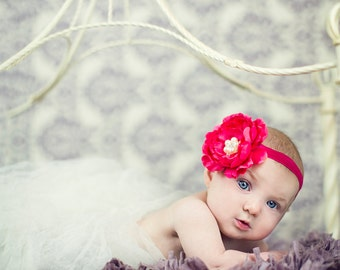 Vibrant Pink Flower Headband, Baby Headband, girls headband, photography prop