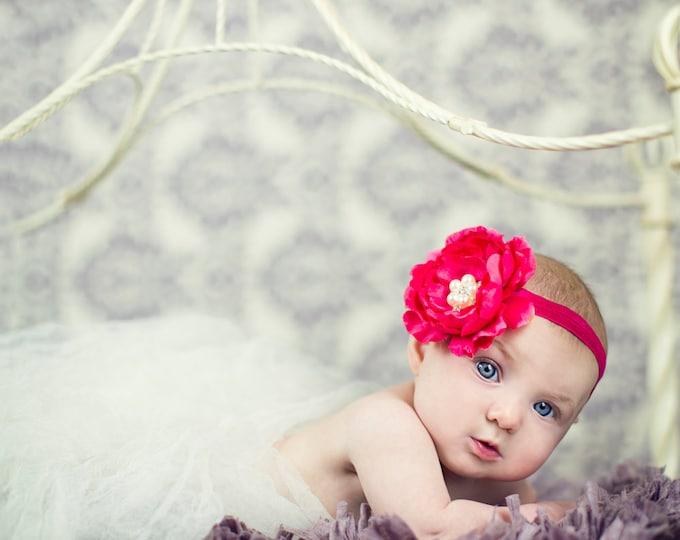 Vibrant Pink Flower Headband, Baby Headband, girls headband, photography prop