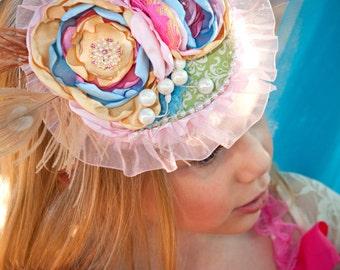 Tea Hat / Wedding Hat / Fascinator Hat / Girls Tea Party Hat / Photography Prop / Girls Birthday Hat / Birthday Hat/ Tea Party Hat