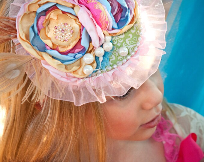 Tea Hat / Wedding Hat / Fascinator Hat / Girls Tea Party Hat / Photography Prop / Girls Birthday Hat / Birthday Hat/ Tea Party Hat