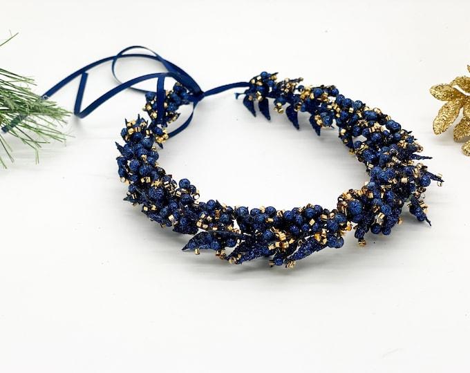 Christmas Flower Crown, Christmas Blue Flower Crown, Girls Flower Crown, Blue and Gold Flower Crown