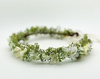 Organic Flower Crown, Boho Wedding Crown, Greenery Floral Crown, Natural flower crown, Wedding Headpiece, Bridal Flower Crown, Flower girl