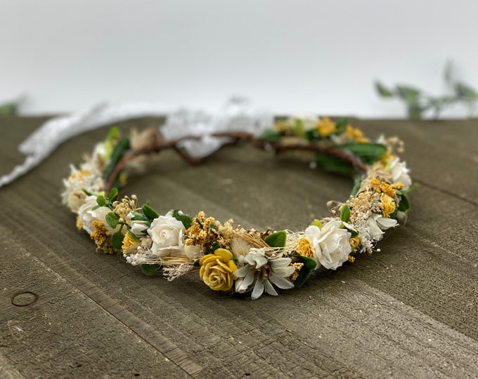 Mustard Yellow Fall flower crown,  Dried Flower Crown, Bridal headpiece, flower crown, Fall Bridal Crown, Flower halo, Flower Girl Crown