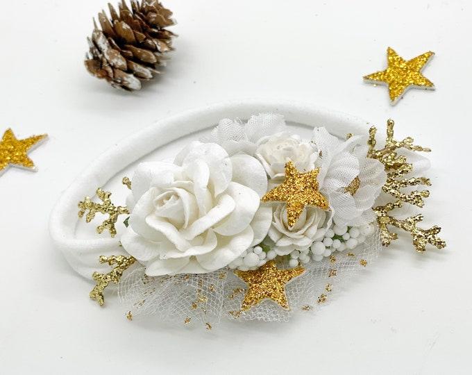 Newborn White Flower Headband, Christening Headband, Baptism Headband, Christmas Headband, Baby Christmas Headband, Stars